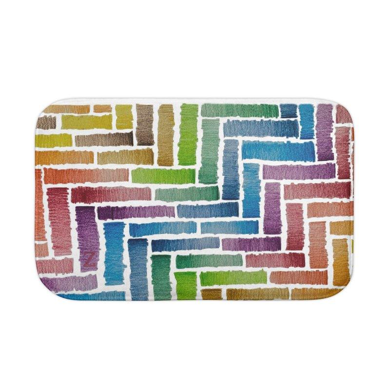Rainbow Bricks Home Bath Mat by Zia Foley's Artist Shop