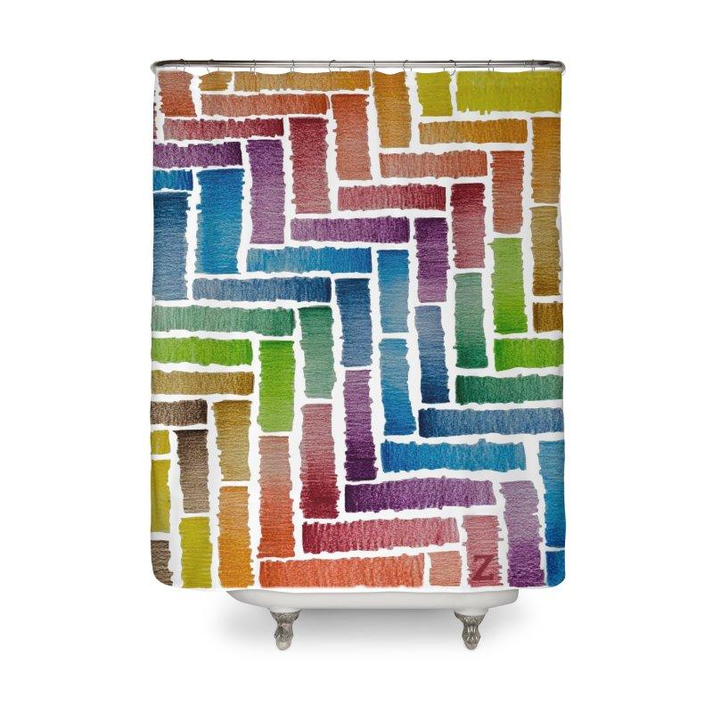Rainbow Bricks Home Shower Curtain by Zia Foley's Artist Shop