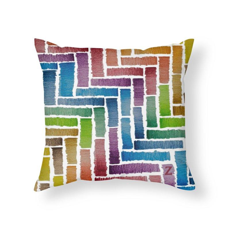 Rainbow Bricks Home Throw Pillow by Zia Foley's Artist Shop