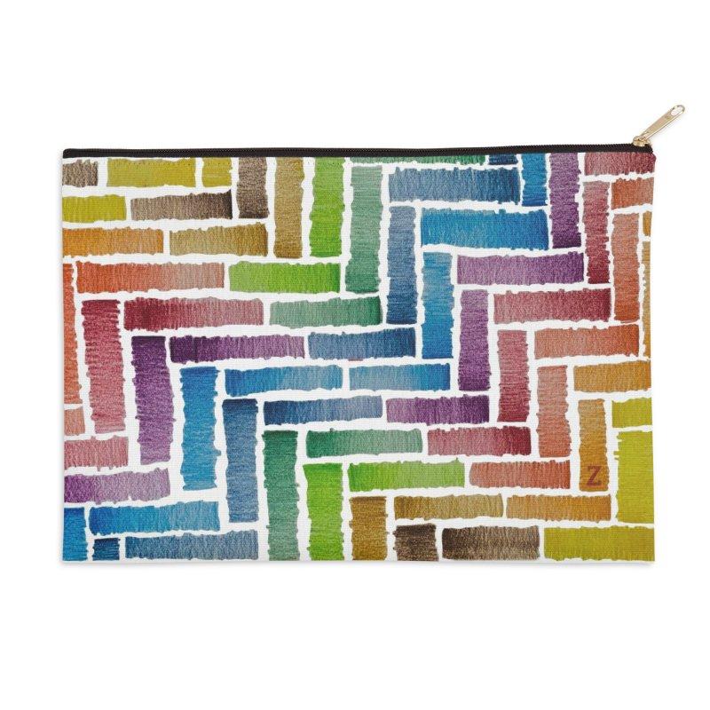 Rainbow Bricks Accessories Zip Pouch by Zia Foley's Artist Shop