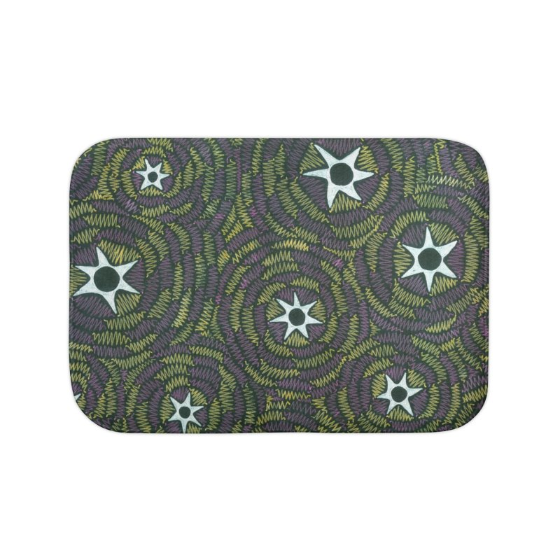 Black Hole Starry Night Home Bath Mat by Zia Foley's Artist Shop
