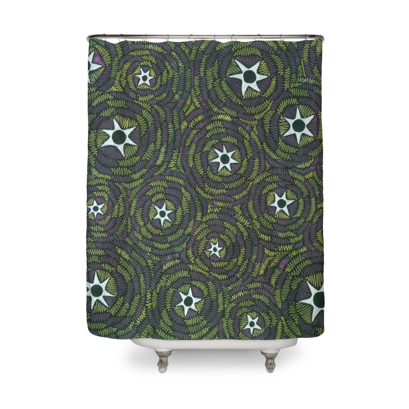 Black Hole Starry Night Home Shower Curtain by Zia Foley's Artist Shop