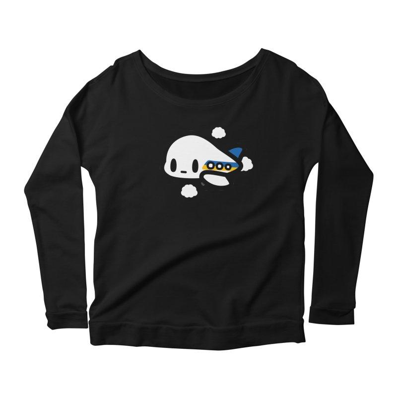 plane Women's Scoop Neck Longsleeve T-Shirt by Ziqi - Monster Little