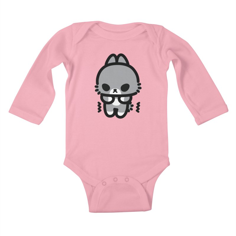 scaredy scaredy grey bunny Kids Baby Longsleeve Bodysuit by Ziqi - Monster Little