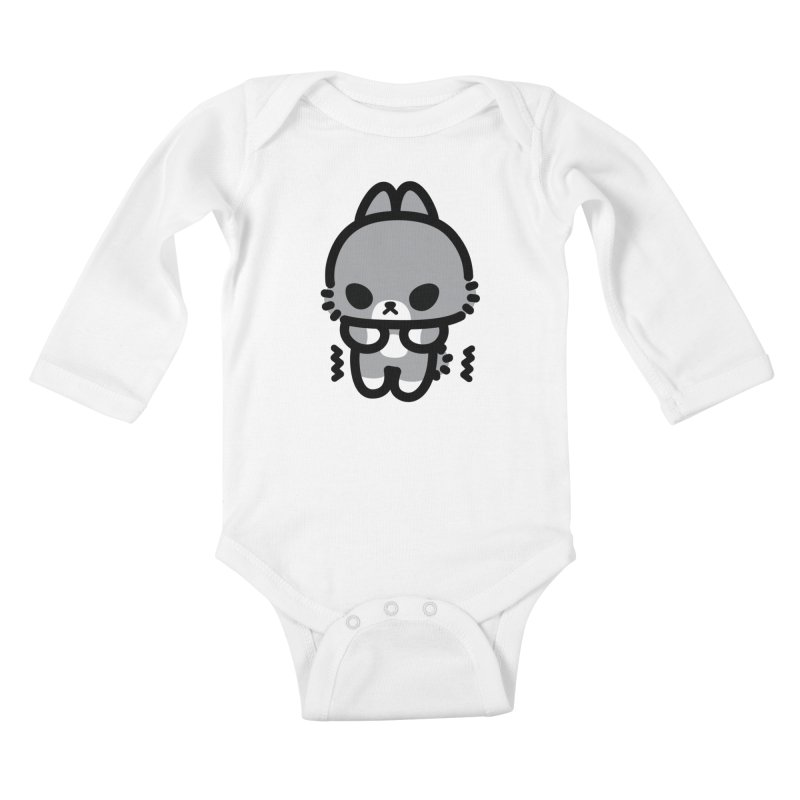 scaredy scaredy grey bunny Kids Baby Longsleeve Bodysuit by Ziqi - Monster Little