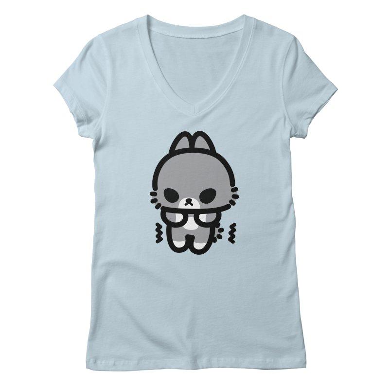 scaredy scaredy grey bunny Women's V-Neck by Ziqi - Monster Little