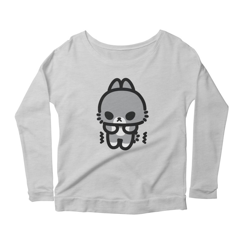 scaredy scaredy grey bunny Women's Scoop Neck Longsleeve T-Shirt by Ziqi - Monster Little