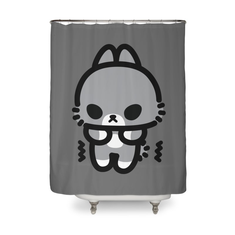 scaredy scaredy grey bunny Home Shower Curtain by Ziqi - Monster Little