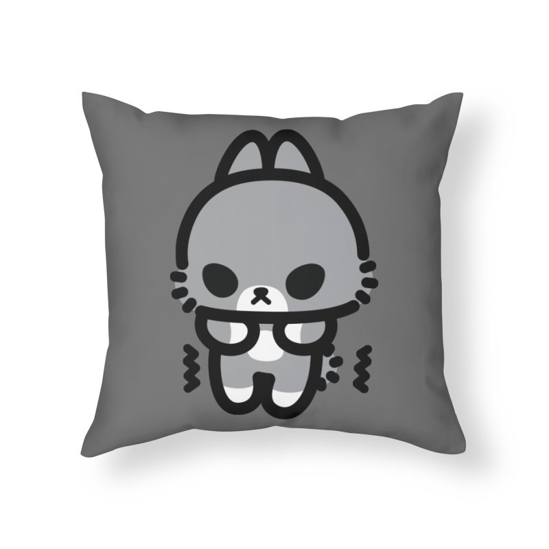 scaredy scaredy grey bunny Home Throw Pillow by Ziqi - Monster Little