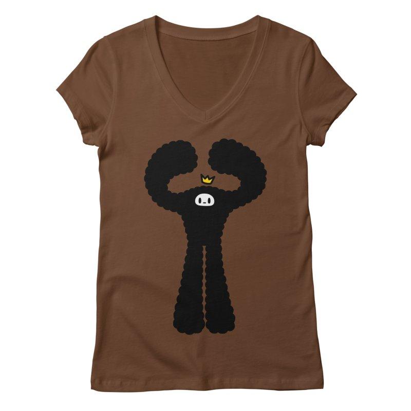 mighty black yeti Women's V-Neck by Ziqi - Monster Little