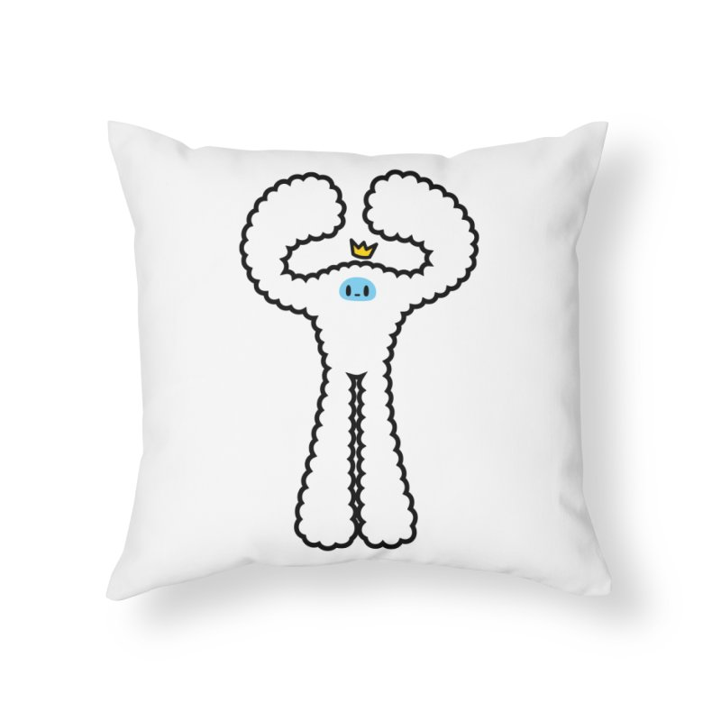 mighty white yeti Home Throw Pillow by Ziqi - Monster Little