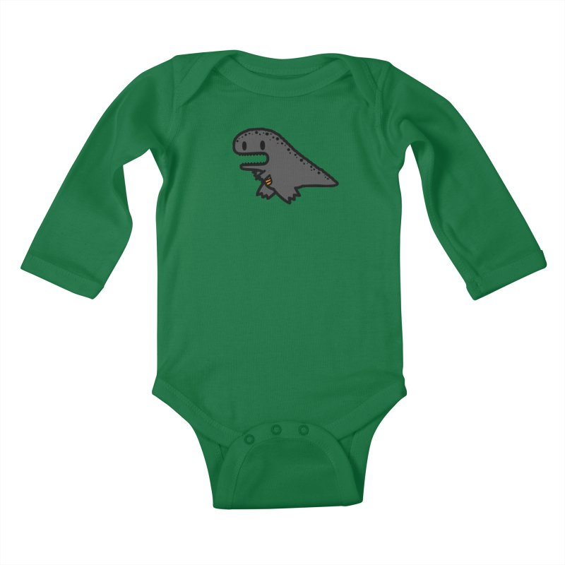 little t-rex dino Kids Baby Longsleeve Bodysuit by Ziqi - Monster Little