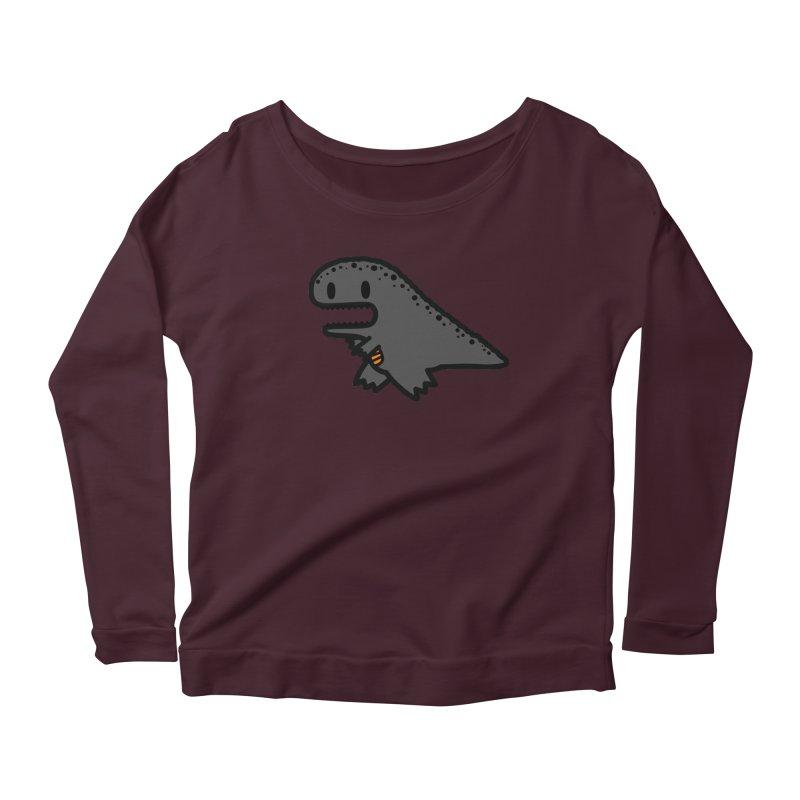little t-rex dino Women's Longsleeve Scoopneck  by Ziqi - Monster Little