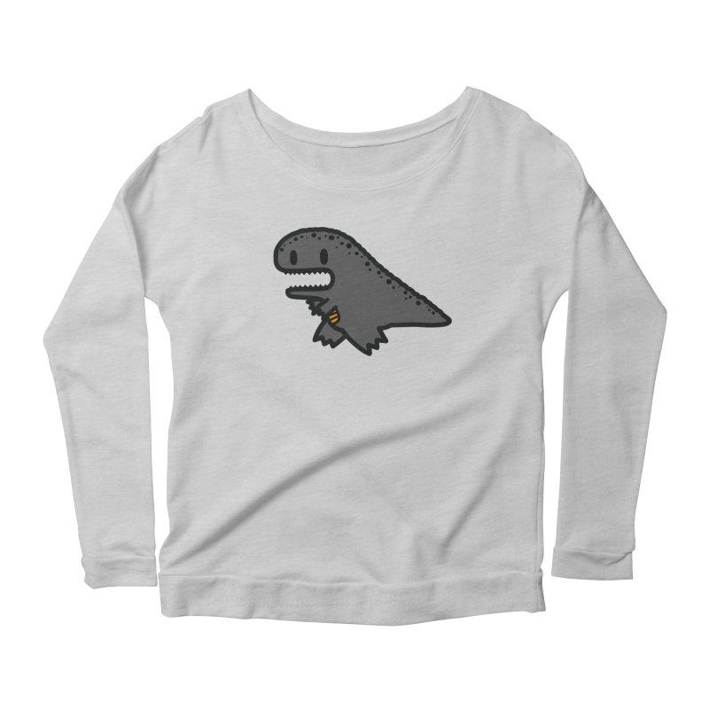little t-rex dino Women's Scoop Neck Longsleeve T-Shirt by Ziqi - Monster Little
