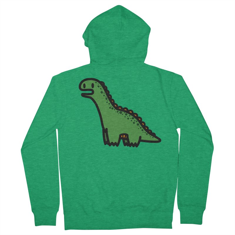little green diplodocus dino Women's French Terry Zip-Up Hoody by Ziqi - Monster Little