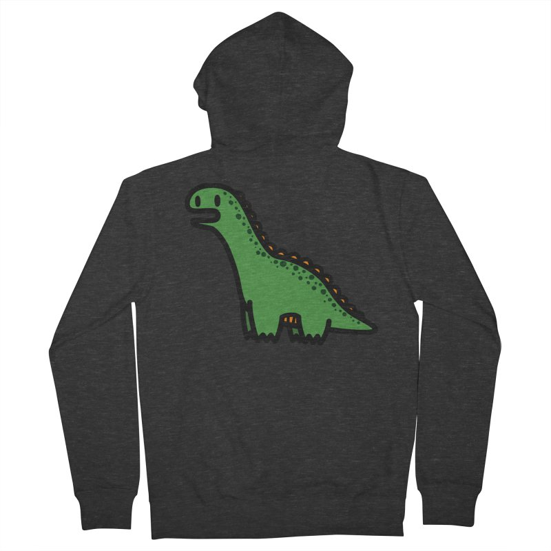 little green diplodocus dino Men's French Terry Zip-Up Hoody by Ziqi - Monster Little