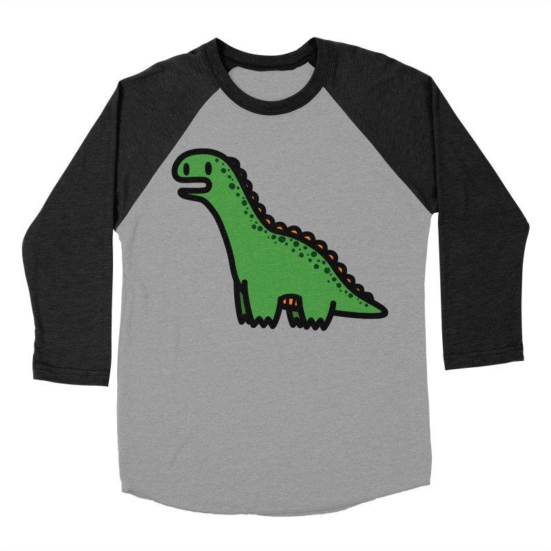 little green diplodocus dino Men's Baseball Triblend T-Shirt by Ziqi - Monster Little
