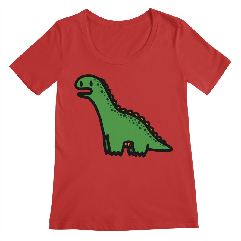 little green diplodocus dino Women's Regular Scoop Neck by Ziqi - Monster Little
