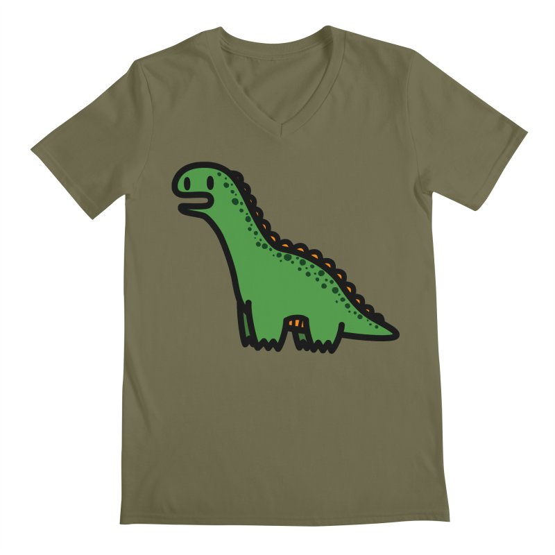 little green diplodocus dino Men's V-Neck by Ziqi - Monster Little