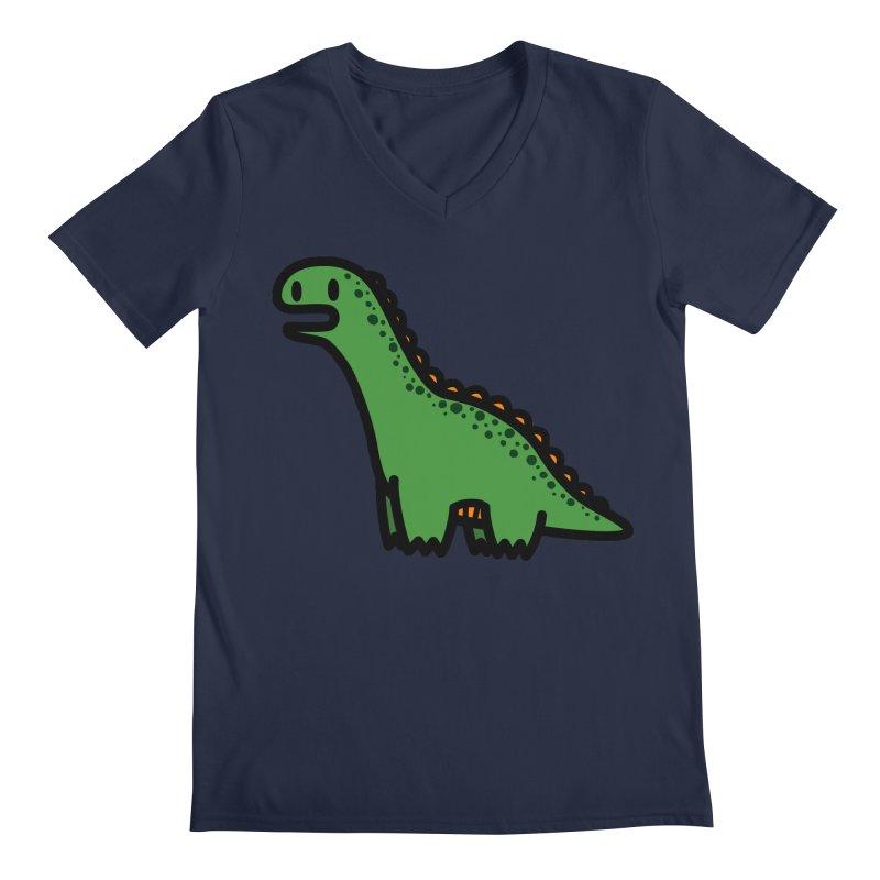 little green diplodocus dino Men's Regular V-Neck by Ziqi - Monster Little