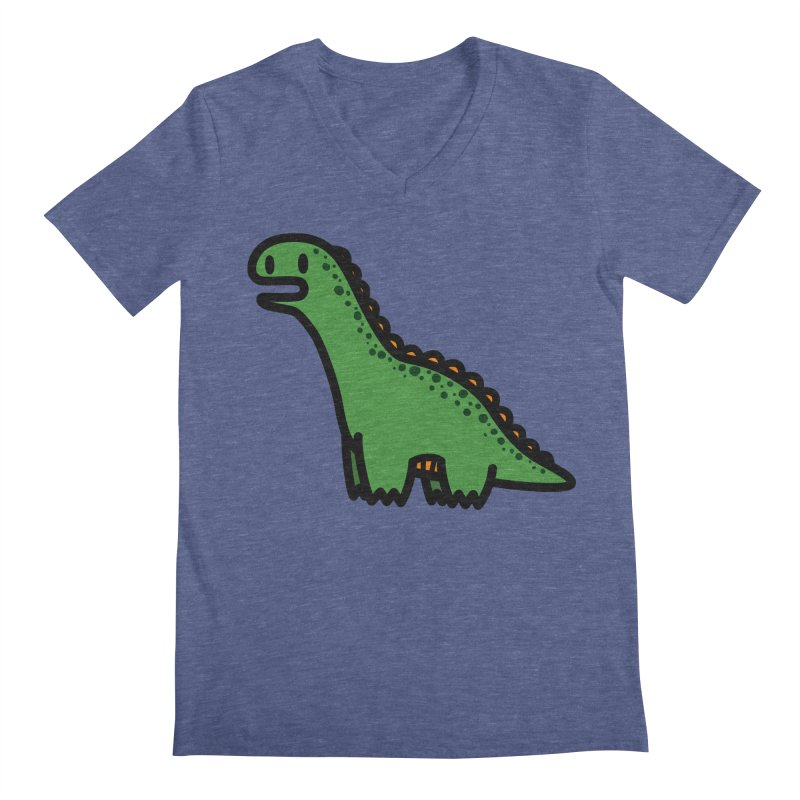 little green diplodocus dino Men's V-Neck by Ziqi - Monster Little