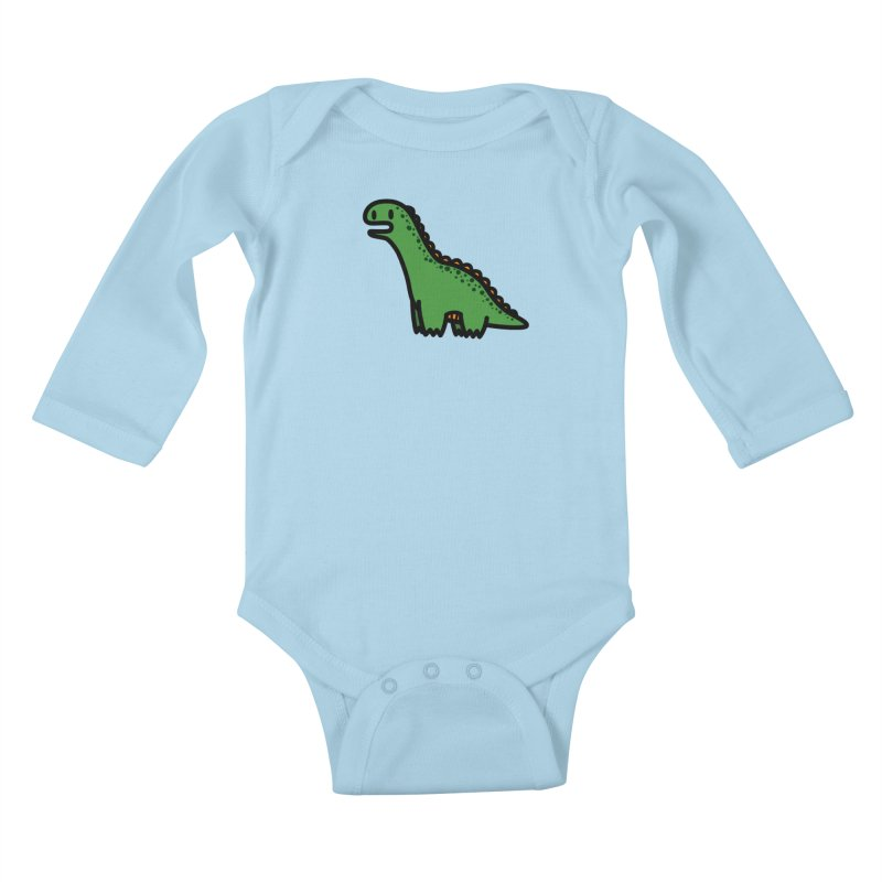 little green diplodocus dino Kids Baby Longsleeve Bodysuit by Ziqi - Monster Little