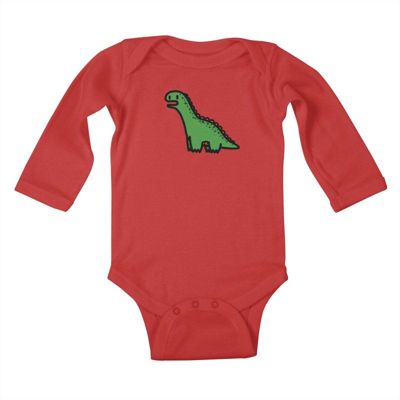 little green diplodocus dino Kids Baby Longsleeve Bodysuit by Ziqi - Monster Little