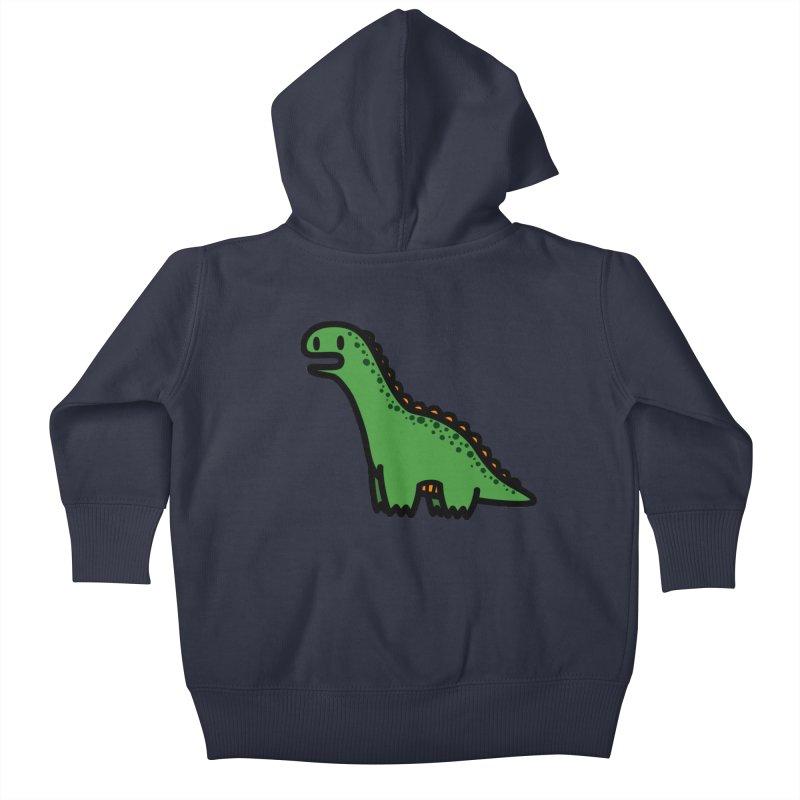 little green diplodocus dino Kids Baby Zip-Up Hoody by Ziqi - Monster Little