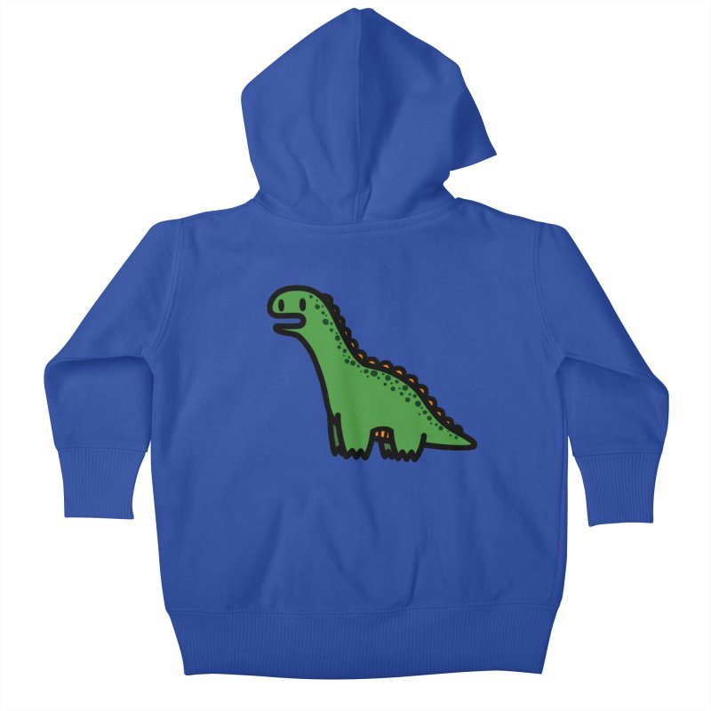 little green diplodocus dino Kids Baby Zip-Up Hoody by Ziqi - Monster Little