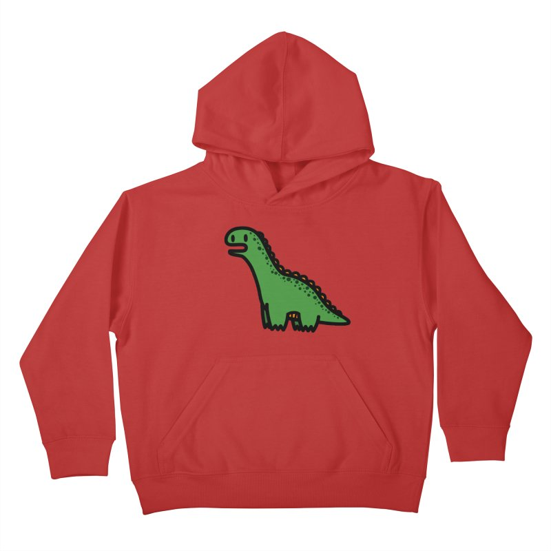 little green diplodocus dino Kids Pullover Hoody by Ziqi - Monster Little
