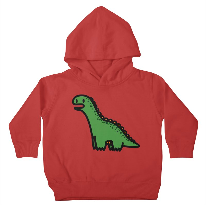 little green diplodocus dino Kids Toddler Pullover Hoody by Ziqi - Monster Little