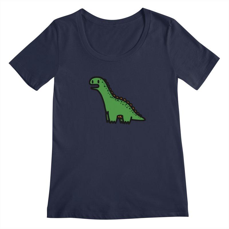 little green diplodocus dino Women's Scoopneck by Ziqi - Monster Little