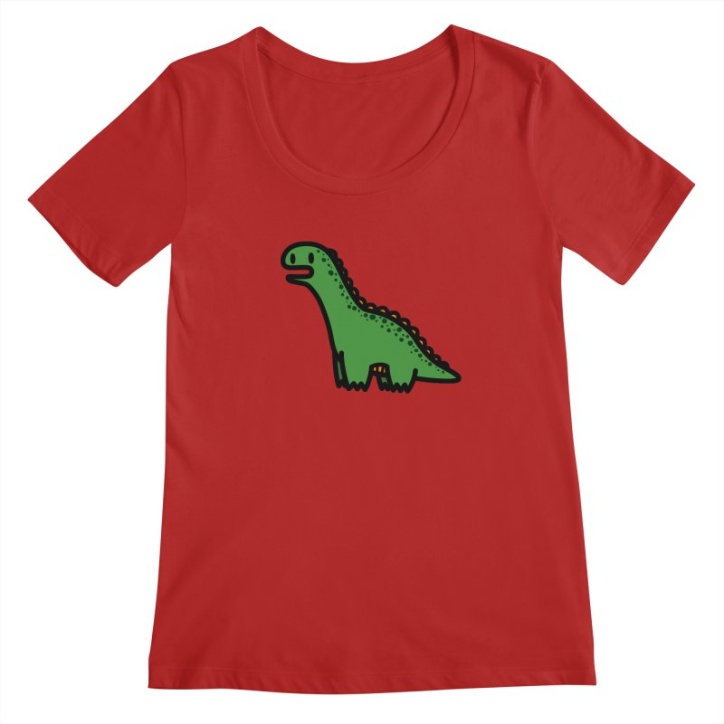 little green diplodocus dino Women's Scoopneck by Ziqi - Monster Little