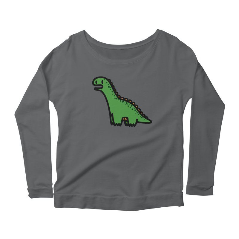 little green diplodocus dino Women's Scoop Neck Longsleeve T-Shirt by Ziqi - Monster Little