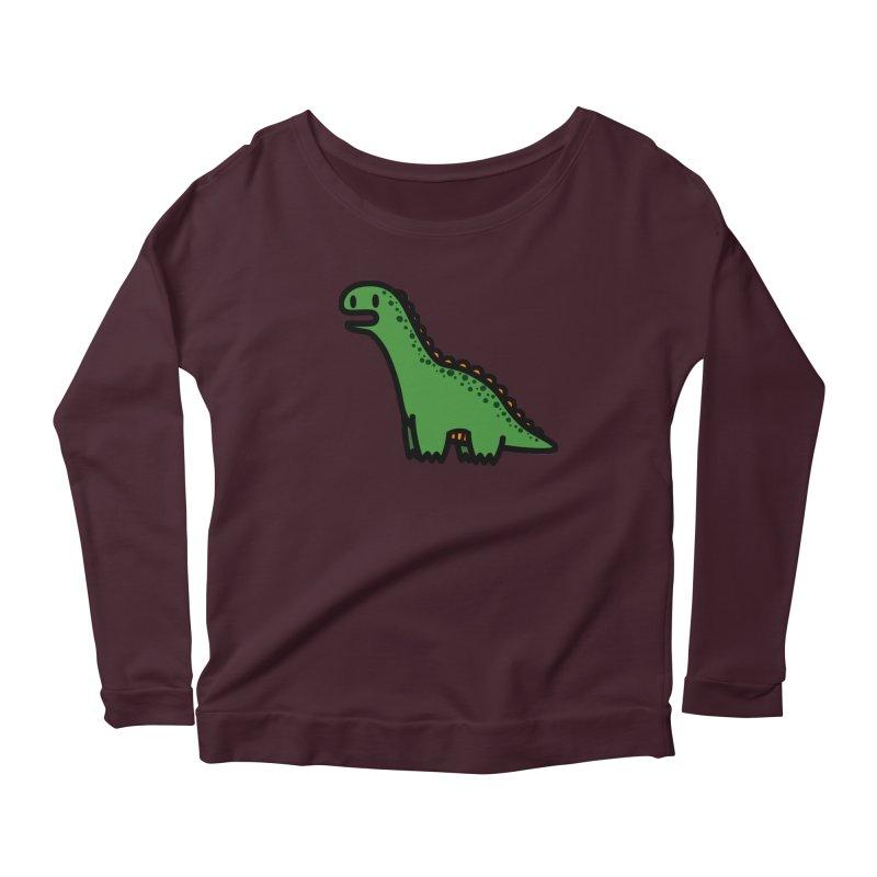 little green diplodocus dino Women's Longsleeve Scoopneck  by Ziqi - Monster Little