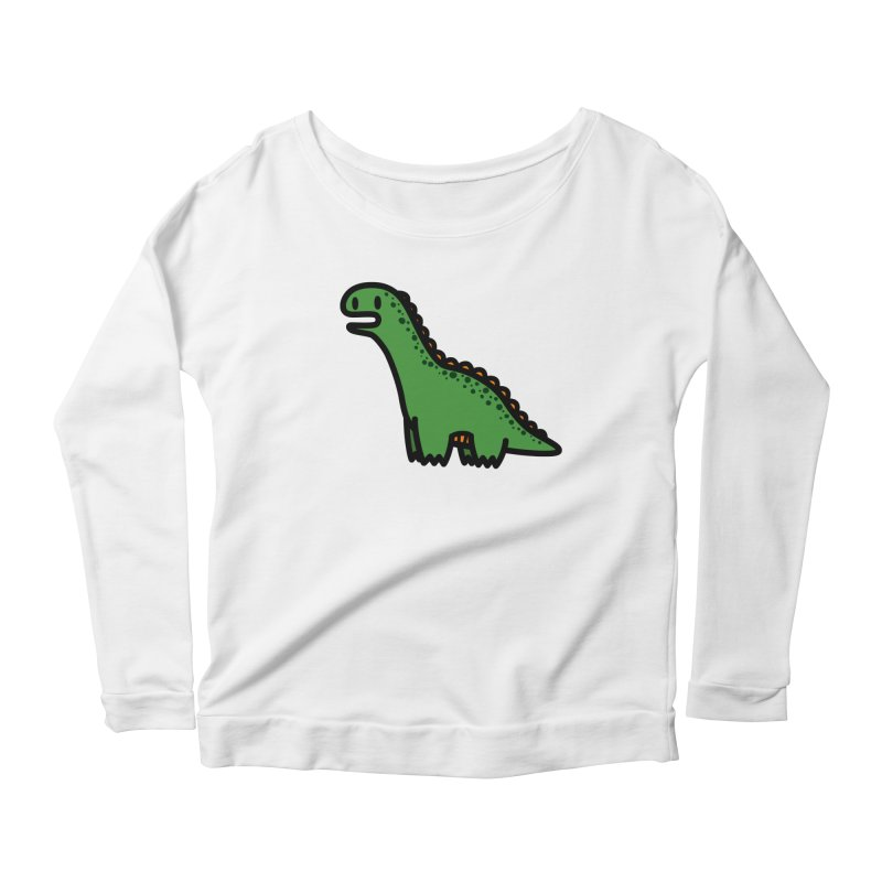 little green diplodocus dino Women's Scoop Neck Longsleeve T-Shirt by Ziqi - Monster Little