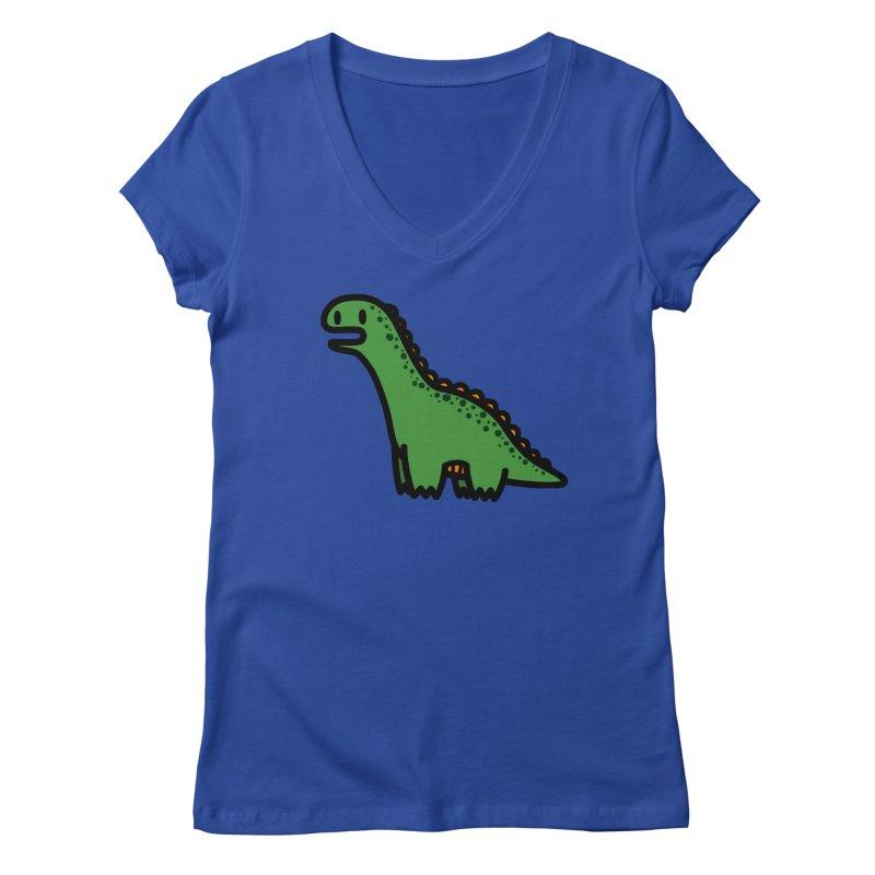 little green diplodocus dino Women's Regular V-Neck by Ziqi - Monster Little