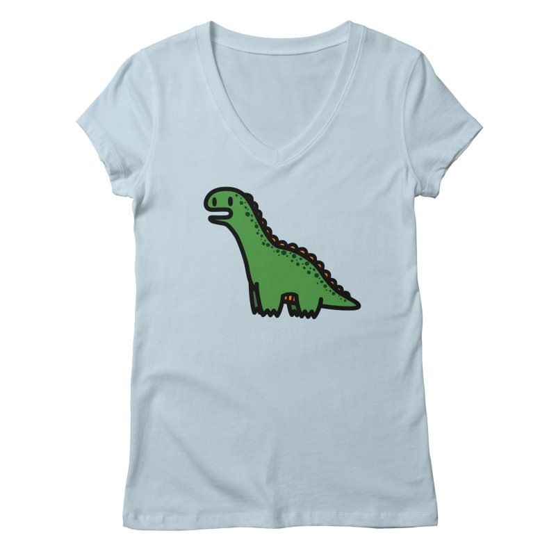 little green diplodocus dino Women's V-Neck by Ziqi - Monster Little