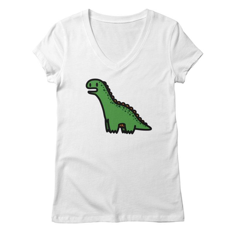 little green diplodocus dino Women's V-Neck by Ziqi - Monster Little