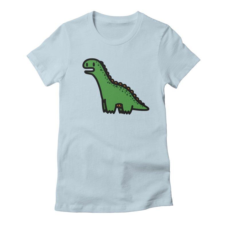 little green diplodocus dino Women's Fitted T-Shirt by Ziqi - Monster Little