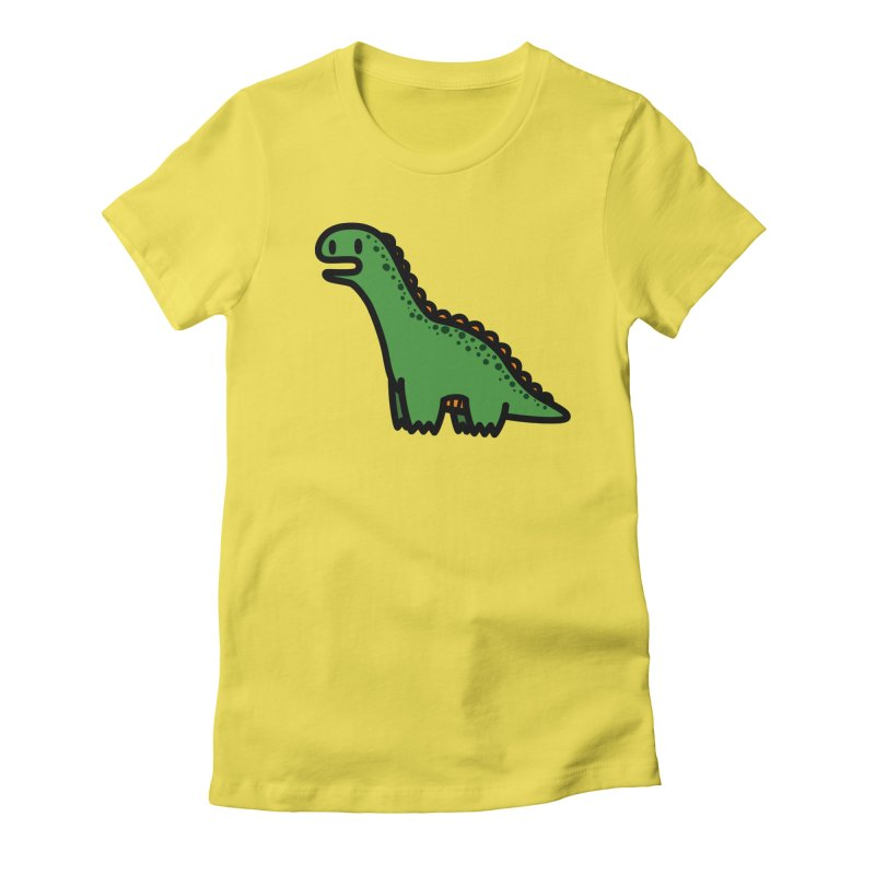 little green diplodocus dino Women's Fitted T-Shirt by Ziqi - Monster Little