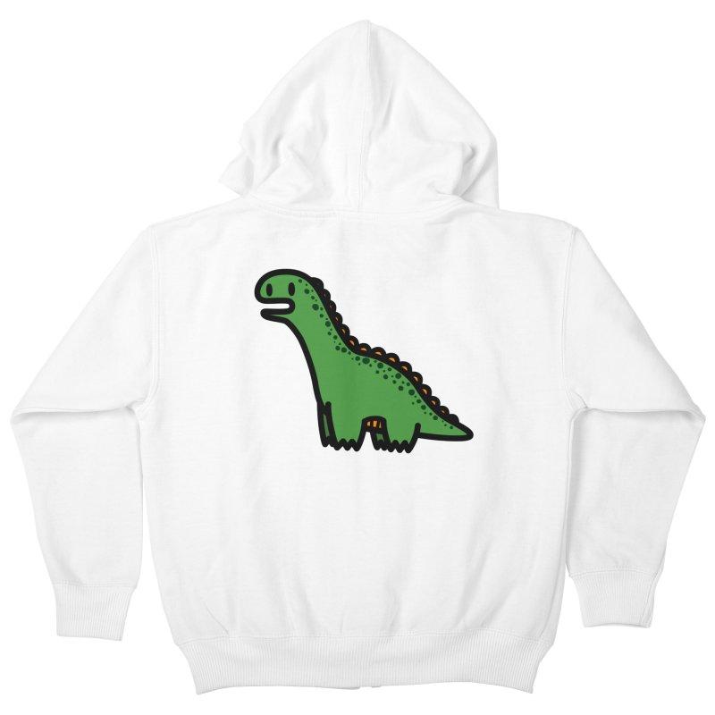 little green diplodocus dino Kids Zip-Up Hoody by Ziqi - Monster Little