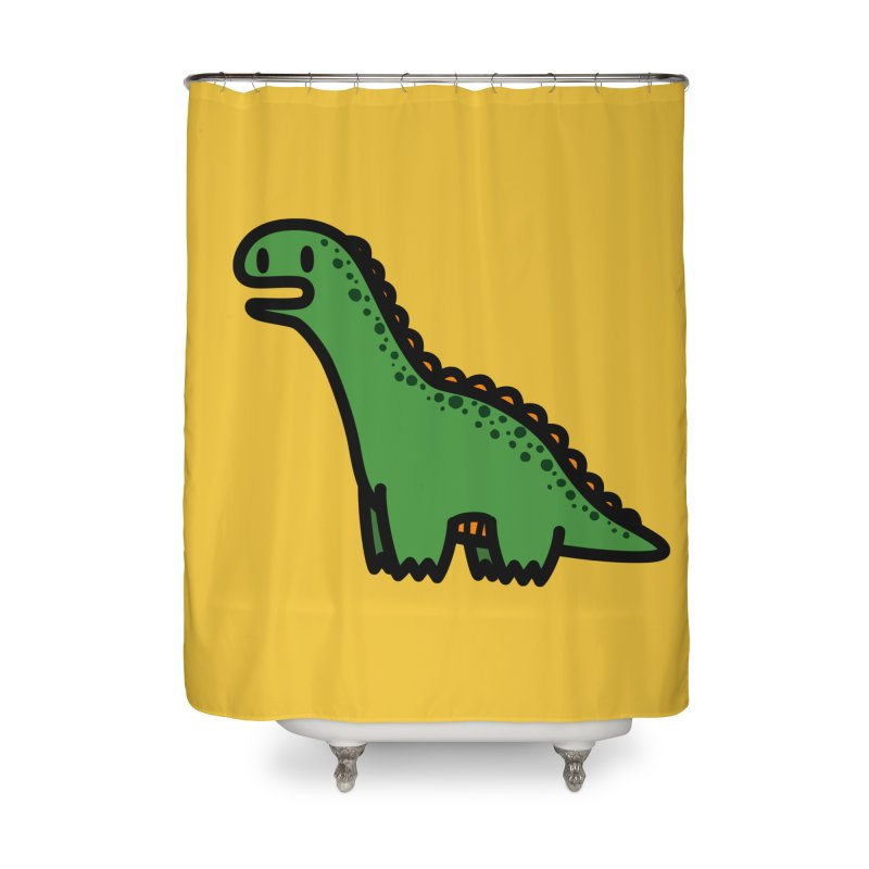little green diplodocus dino Home Shower Curtain by Ziqi - Monster Little