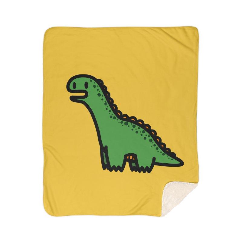 little green diplodocus dino Home Sherpa Blanket Blanket by Ziqi - Monster Little