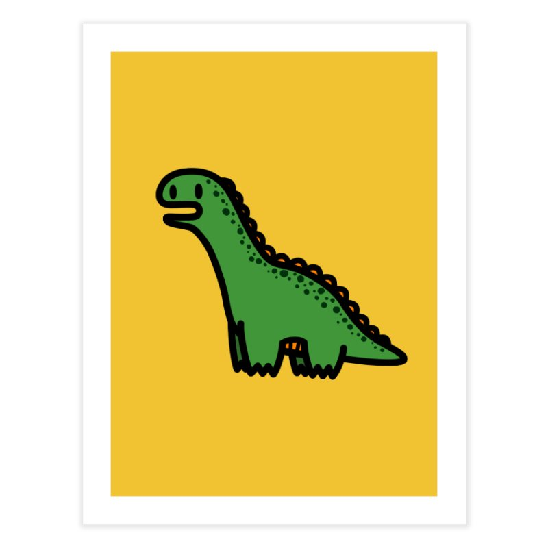 little green diplodocus dino Home Fine Art Print by Ziqi - Monster Little