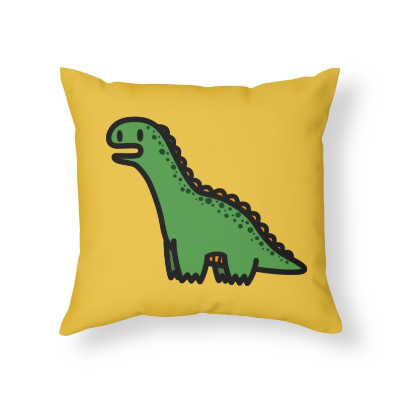 little green diplodocus dino Home Throw Pillow by Ziqi - Monster Little