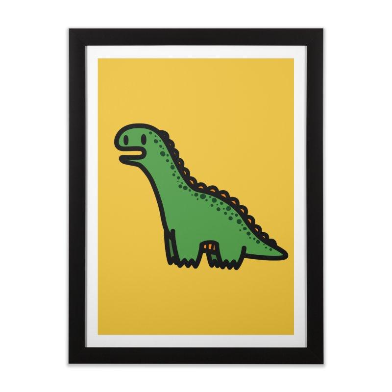 little green diplodocus dino Home Framed Fine Art Print by Ziqi - Monster Little