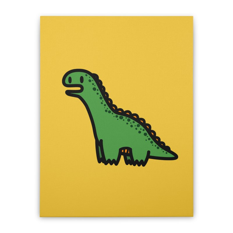 little green diplodocus dino Home Stretched Canvas by Ziqi - Monster Little