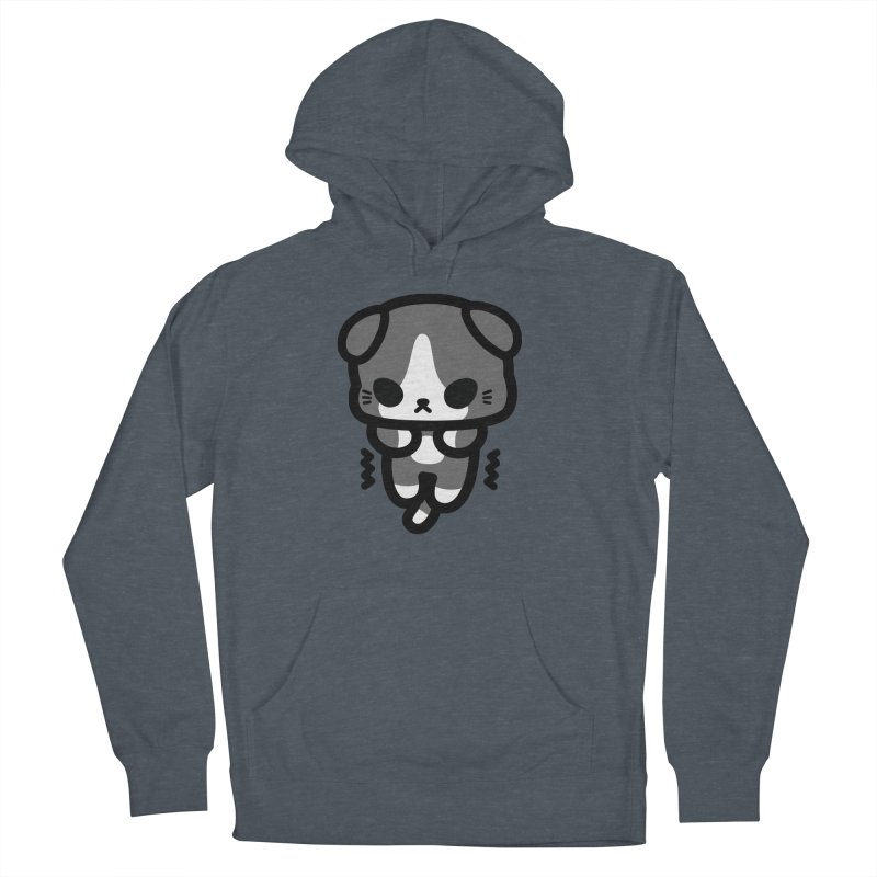 scaredy scaredy grey white kitty Women's French Terry Pullover Hoody by Ziqi - Monster Little