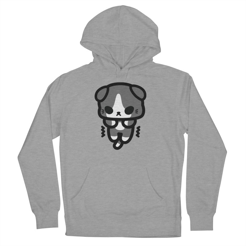 scaredy scaredy grey white kitty Men's French Terry Pullover Hoody by Ziqi - Monster Little